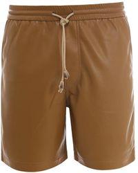 Nanushka Doxxi Faux-leather Bermuda Shorts - Brown