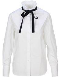 Chloé Bow Ruffled High-neck Shirt - White