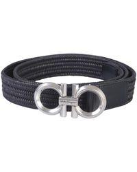 Ferragamo Woven Gancini Belt - Black