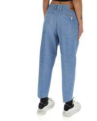 Junya Watanabe Splatter Print Jeans - Blue