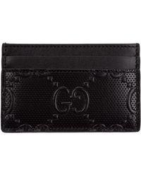 Gucci Men's Genuine Leather Credit Card Case Holder Wallet - Black
