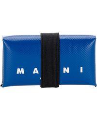 Marni Origami Logo Print Wallet - Blue