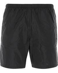 Prada Triangle Logo Swim Shorts - Black