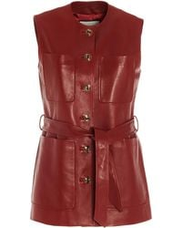 Gucci Leather Belted Vest - Red