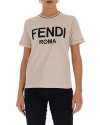 Fendi Logo Cotton Jersey T-shirt - Pink