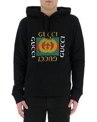 Gucci Logo Printed Hoodie - Black