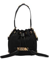 Moschino Logo Plaque Tassle Bucket Bag - Black