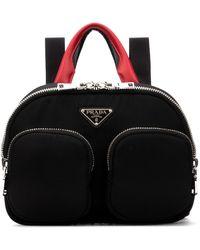 Prada Zipped Logo Plaque Backpack - Black