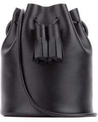 Building Block Mini Tassel Bucket Bag - Black
