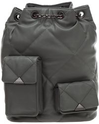 Emporio Armani Logo Plaque Quilted Backpack - Grey