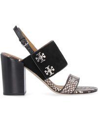 Tory Burch Kira Snakeskin Print Leather Sandals - Black
