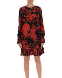Valentino Floral Print Pleated Dress - Red