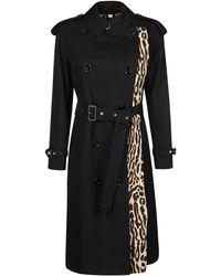 Burberry Leopard-print Lined Gabardine Trench Coat - Black