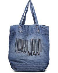 Junya Watanabe Barcode Print Tote Bag - Blue