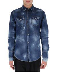 DSquared² Distressed Denim Button Up Shirt - Blue