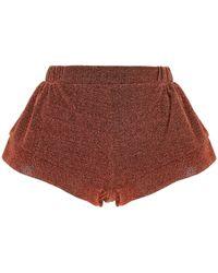 Oséree Lurex Stretch Shorts - Brown