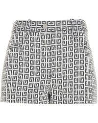 Givenchy 4g Jacquard Denim Shorts - Blue