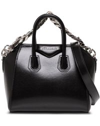 Givenchy Antigona Mini Handbag In Leather Box With Chain - Black