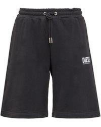 DIESEL Logo Print Sweat Shorts - Black
