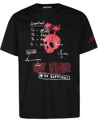 DIESEL Graphic Logo Printed T-shirt - Black