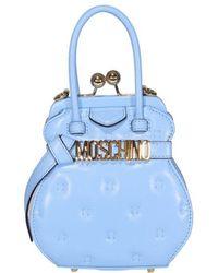 Moschino Logo Top Handle Bag - Blue