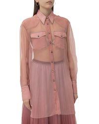 Brunello Cucinelli Sheer Front Pocket Shirt - Pink