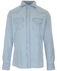 Brunello Cucinelli Denim Button Up Shirt - Blue
