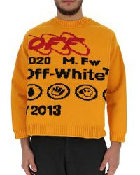 Off-White c/o Virgil Abloh Yellow Y013 Jumper In Wool Blend With Lettering And Graphics On The Front And Back.