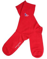 Maison Kitsuné Fox Patch Socks - Red