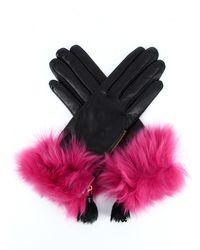 Prada Fur-trim Tassel Gloves - Multicolour