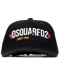 DSquared² Logo Embroidered Distressed Baseball Cap - Black