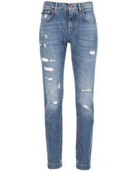 Dolce & Gabbana Embellished Distressed Denim Jeans - Blue