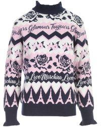 Love Moschino Slogan Intarsia Knit Jumper - Multicolour