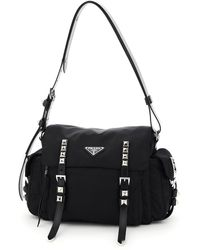 Prada Stud-embellished Shoulder Bag - Black