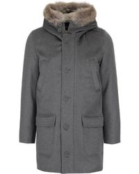 Herno Fur Trimmed Hood Single Breasted Coat - Grey
