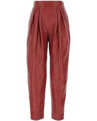 Alberta Ferretti Leather Pant - Red