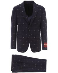 Gucci GG Single Breasted Suit - Blue