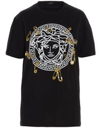 Versace Medusa Safety Pin Embroidered T-shirt - Black