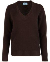 Prada V-neck Knit Jumper - Brown