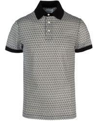 Ferragamo Gancini Logo Print Polo Shirt - Grey