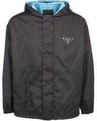 Prada - Hooded Logo Plaque Jacket - Lyst