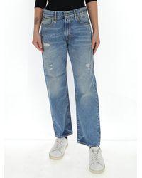 R13 Bain Mid Waisted Boyfriend Jeans - Blue