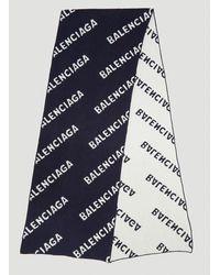 Balenciaga Intarsia Logo Scarf - Blue
