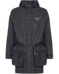 Prada Logo Detailed Raincoat - Black