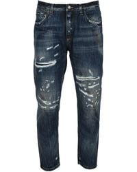 Dolce & Gabbana Ripped Cropped Jeans - Blue