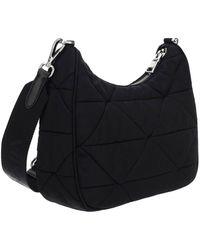 Prada Triangle Logo Padded Shoulder Bag - Black