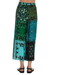 Pinko Patchwork Printed Wide-leg Cropped Pants - Green