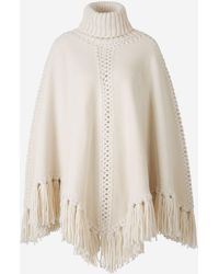 Zimmermann Fringed Knitted Wool Poncho - Natural