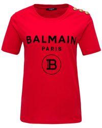 Balmain Logo Button Embellished T-shirt - Red