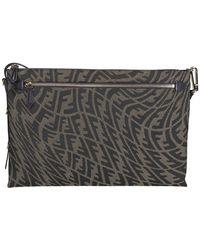 Fendi Ff Vertigo Clutch Bag - Brown